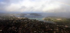 Port Vila and Vila Bay seen from above.