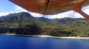 Flying along the western shore of Pentecost Island.