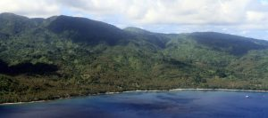 Western shore of Pentecost Island with the land diving site barely visible (the tower is on the left side of the clearing near the shore, in the center of the photograph).