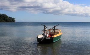 The small fishing boat that transported me (as well as others in our tour group) across Lamen Bay.