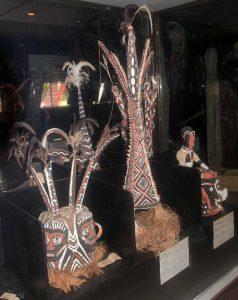 Head dresses used for various ceremonies, on display in Vanuatu's National Museum in Port Vila.