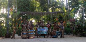 The men at Ekasup Cultural Village playing a song for us.