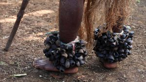 Shell ankle bracelets around a dancer's feet.