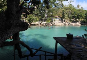 Platform and rope swing at the Blue Lagoon.