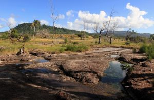 Stream at the hot springs with Quoin Hill in the background.