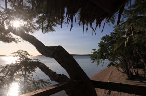 Looking out from a tree house at the beach north of Manga'asi Village.